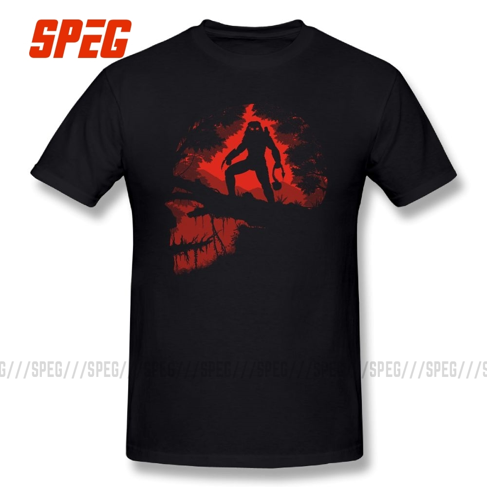 The Jungle Hunter Alien Vs Predator T Shirt Round Collar T-Shirts Short Sleeve Printed Hot Sale Pure Cotton Man Tees
