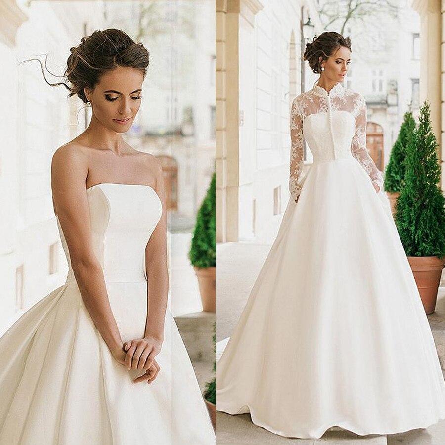Gorgeous Satin High Collar Neckline Wedding Dresses With Detachable Jacket Two Pieces Button Front Bridal Dresses