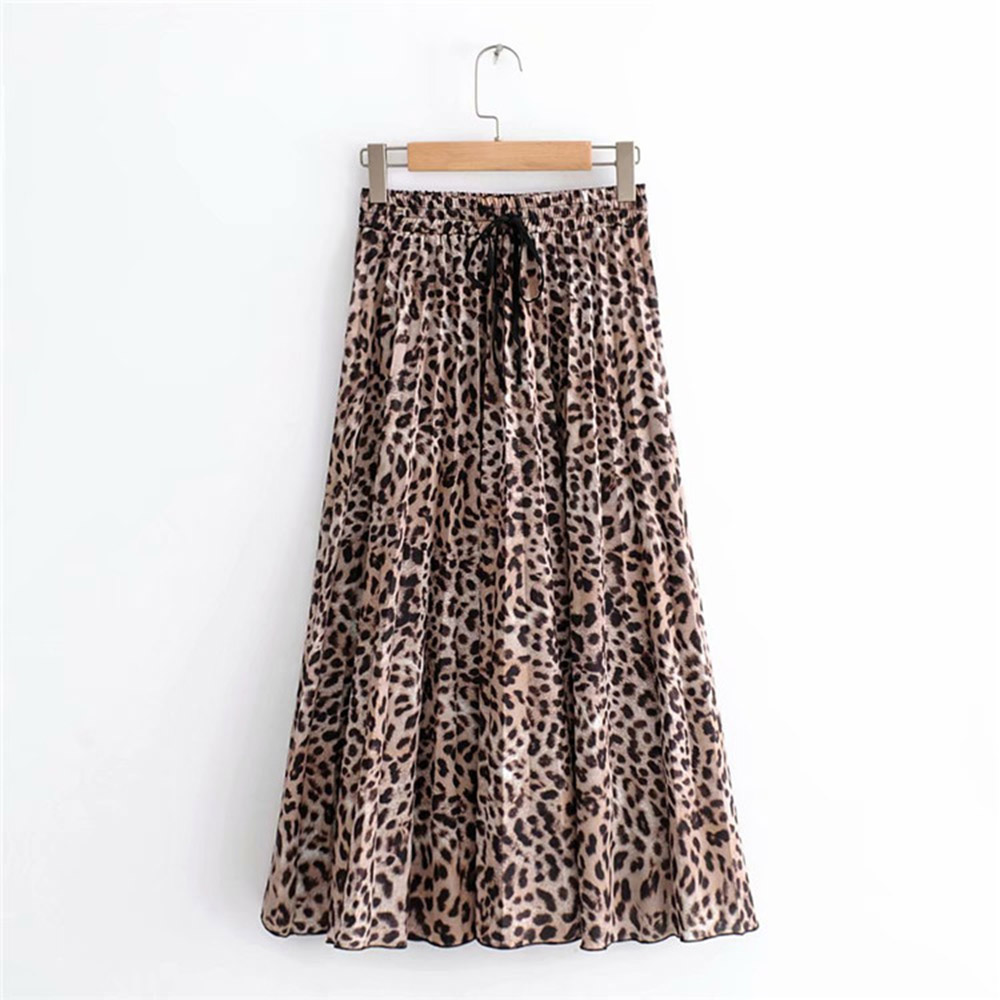 2020 New Women Vintage Leopard Print Pleated Midi Skirt Faldas Mujer For Ladies Elastic Waist Sashes Chic Mid-calf Female Skirts