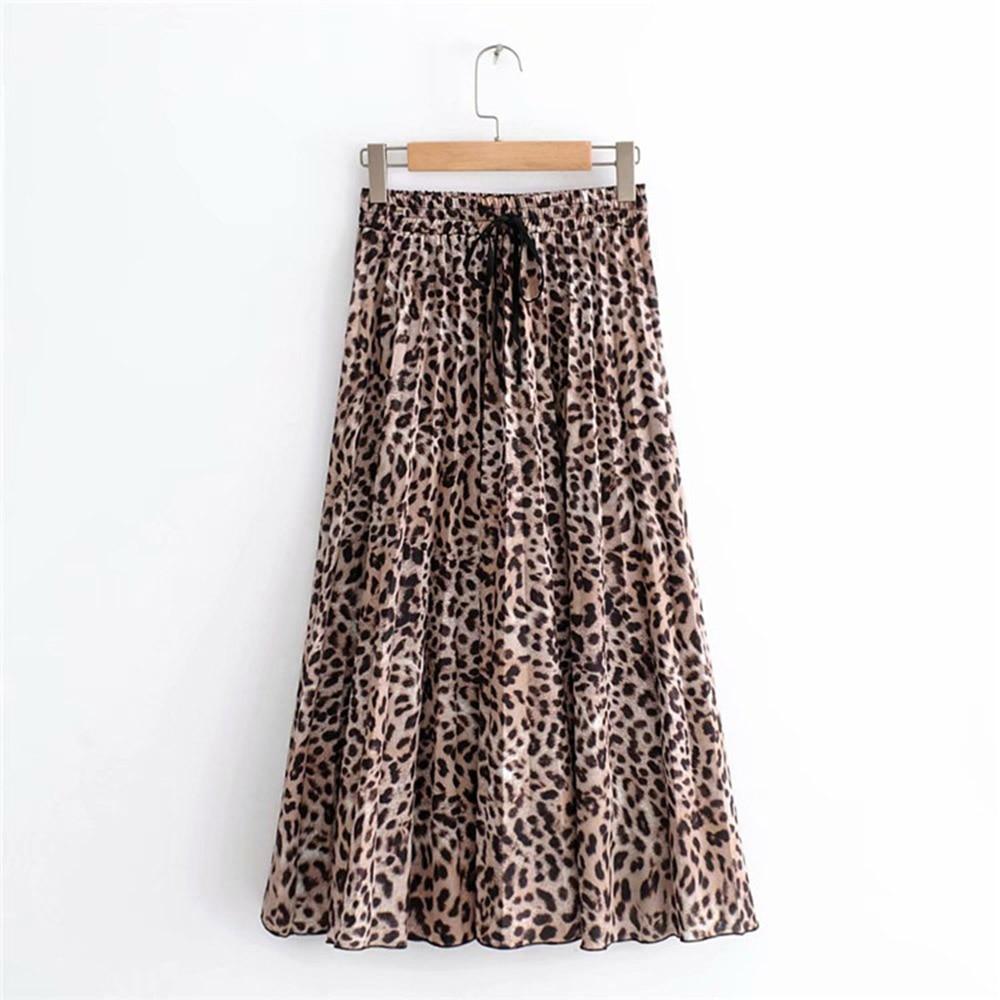 2020 New Women Vintage Leopard Print Pleated Midi Skirt Faldas Mujer For Ladies Elastic Waist Sashes Chic Mid-calf Female Skirts
