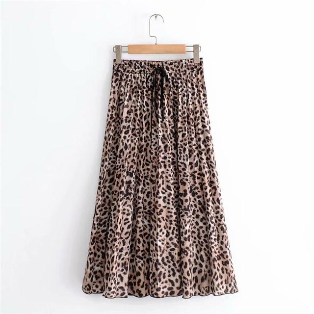 Women's Leopard Print, Pleated Midi Skirt