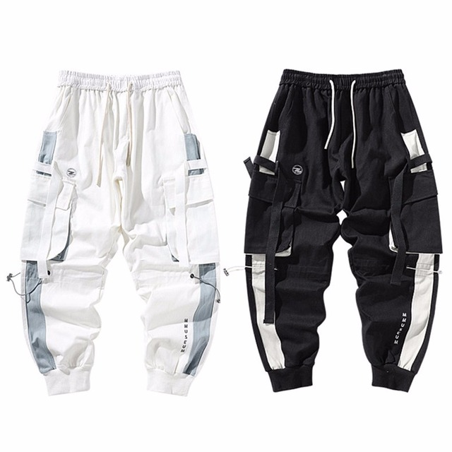 Men Cargo Harem Jogger Pants Men Hip Hop Fashion Casual Track Trousers Streetwear Harajuku Hipster Ribbon Pockets Sweatpants Men 6