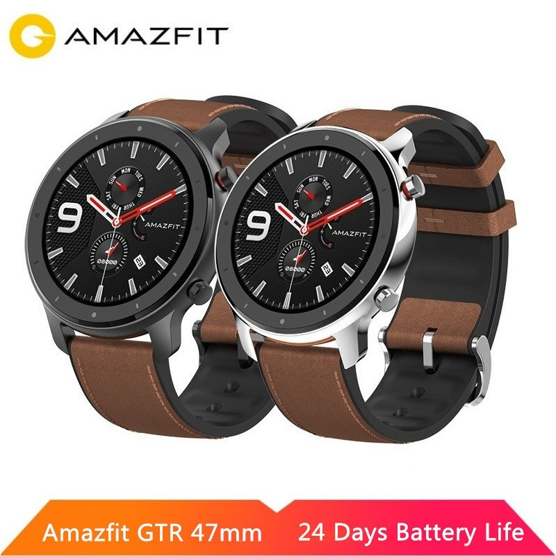 Original huami amazfit gtr 47mm 42mm relógio inteligente amoled tela 5atm à prova dwaterproof água gps glonass 12 modos de esporte para android ios
