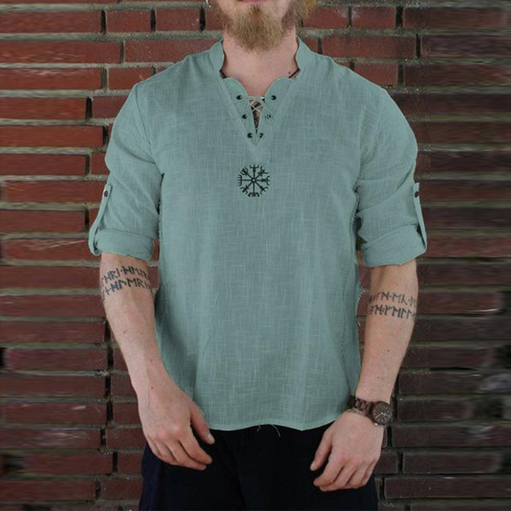 2019 New Blouse Men's Summer New Style Fashionable Personality Cotton-linen Pure Long Sleeved Top Sport Linen Tops