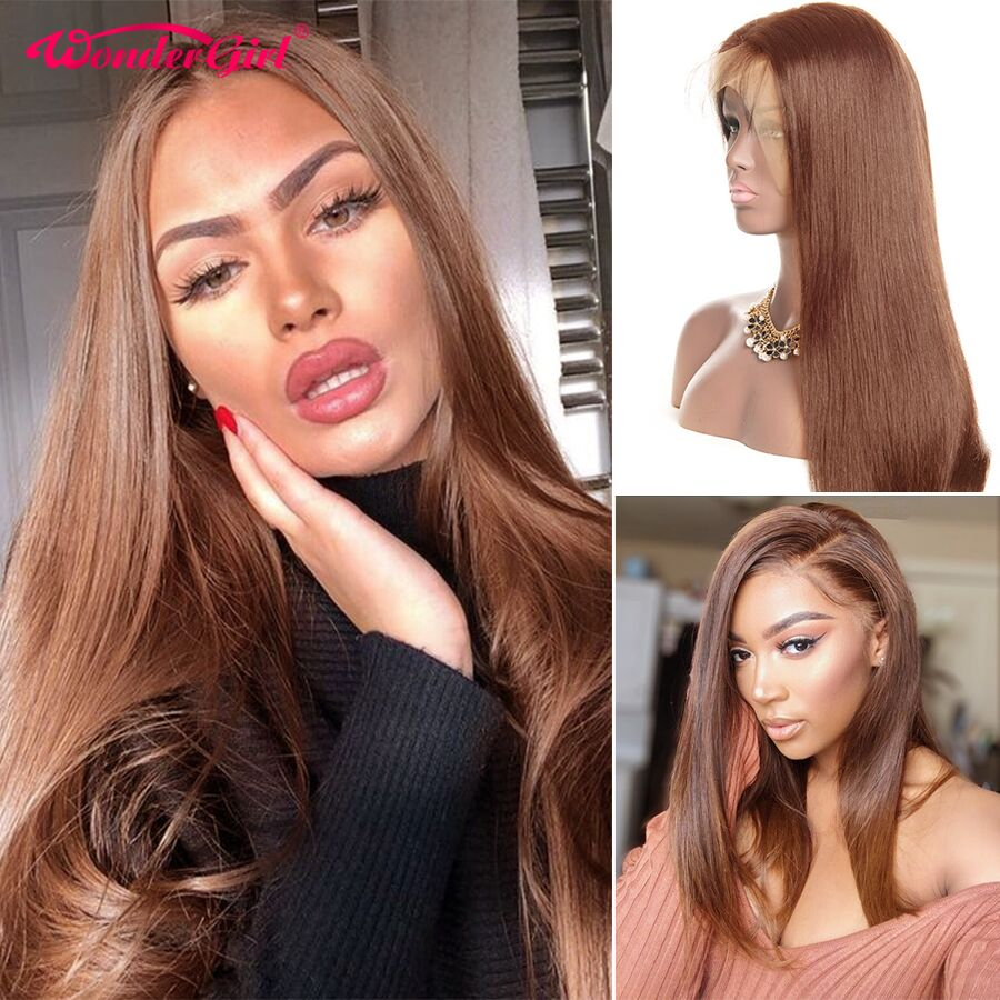 #4 Lace Front Human Hair Wigs For Women Black 250% Brown Straight Lace Front Wig Pre Plucked Remy Brazilian Lace Wig Wonder Girl