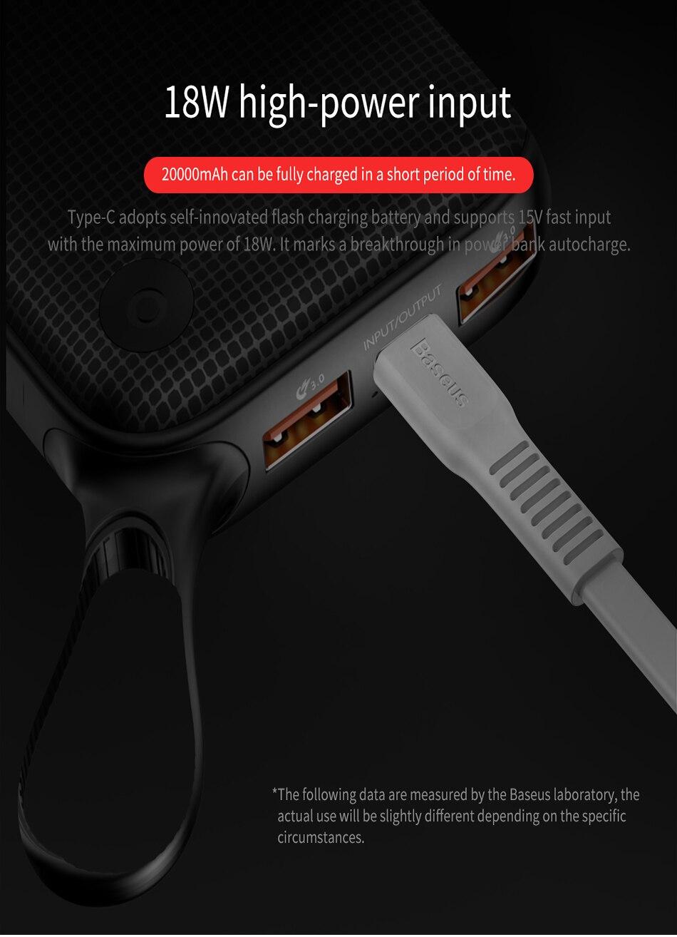 Baseus 20000mAh Quick Charge 3.0 Power Bank For Xiaomi Mi 000 mAh USB C PD Fast Portable External Battery Charger Powerbank 13