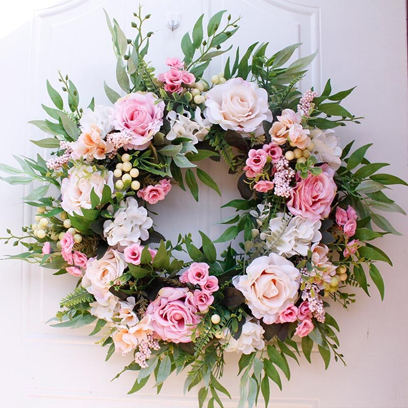 Flower  22 Spring Wreath Wall Hanging  Round Rose Artificial Wedding Inch Home Decor Party Garland Decoration For Artificial
