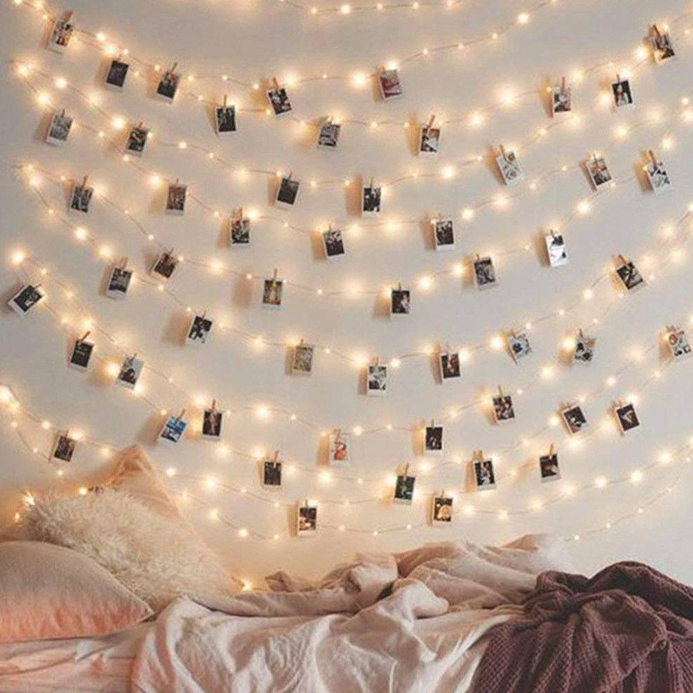 2M / 5M Photo Clip LED Copper String Lights Fairy Home Party Christmas Wedding Picture Card Garland Xmas Tree Cafe Wall Decorate