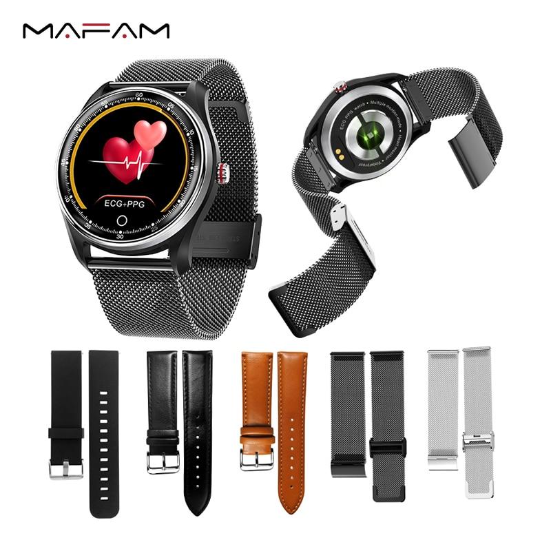 MAFAM Silicone Steel Leather Strap For Mx9 Mx6 DT78 Men Women Sport Waterproof Smart Watch