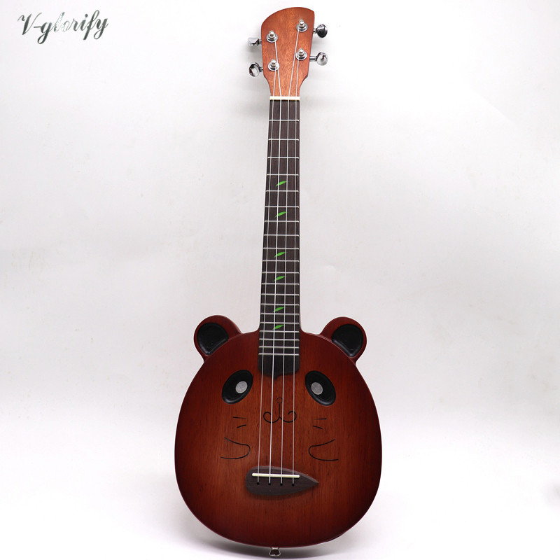 Brown Color Full Mahogany Wood Body Electric Acoustic Ukulele Guitar Mouse Pattern Guitar 21 Inch 4 String Children Mini Guitar