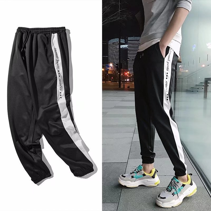 Summer Elasticity Hong Kong Style Literature And Art Korean-style Slim Fit 9 Tidal Sports MEN'S Casual Pants Black Capri Pants M