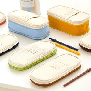 Корея Макарон цвет пенал из парусины стрейч большой двухъярусный емкости карандаш коробка милые канцелярские сумки школьные офисные