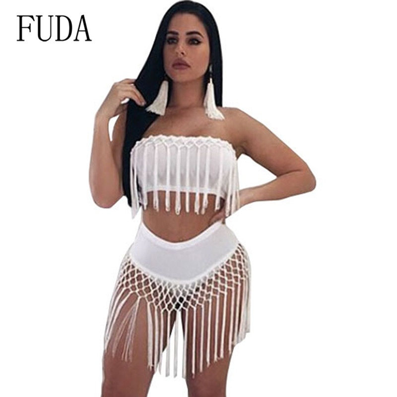 FUDA Fringes Rompers Womens Jumpsuits Tassels Sexy Solid Bodysuits Elegant Off Shoulder Sleeveless Two Pieces Summer Overalls