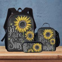 3шт подсолнух печать школа сумки для детей девочек книга сумка ты есть мой солнечный свет подросток студент школа сумки