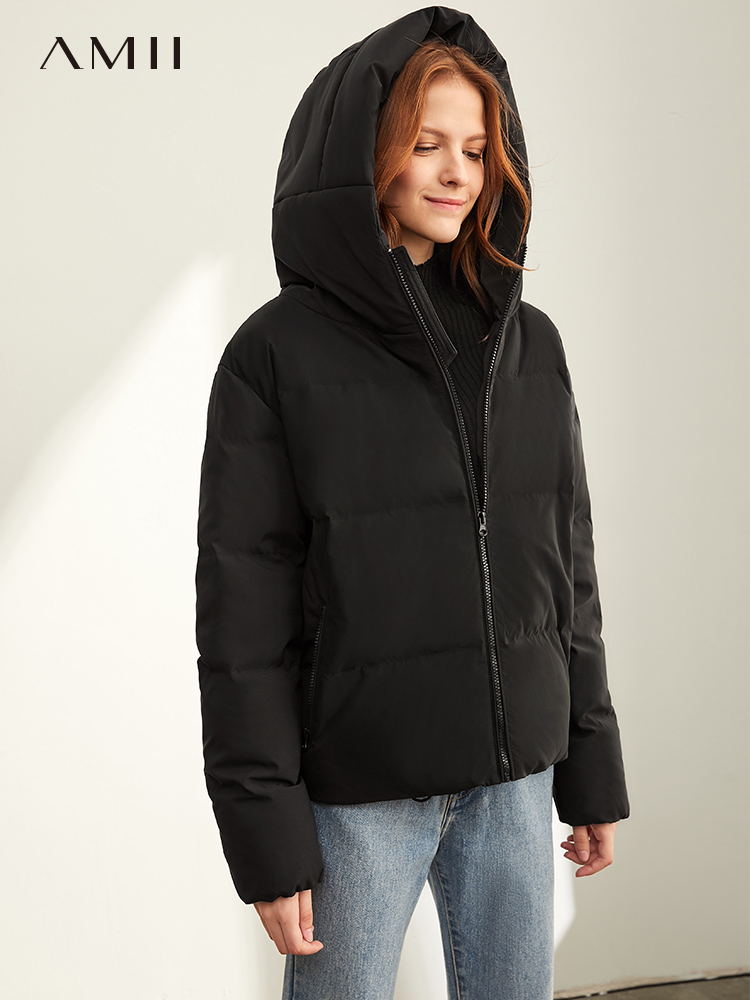 Amii Fashion 90% White Duck   Down   Jacket Winter Casual Solid Loose Hooded Long Sleeve Zipper Female   Down     Coat   11960129