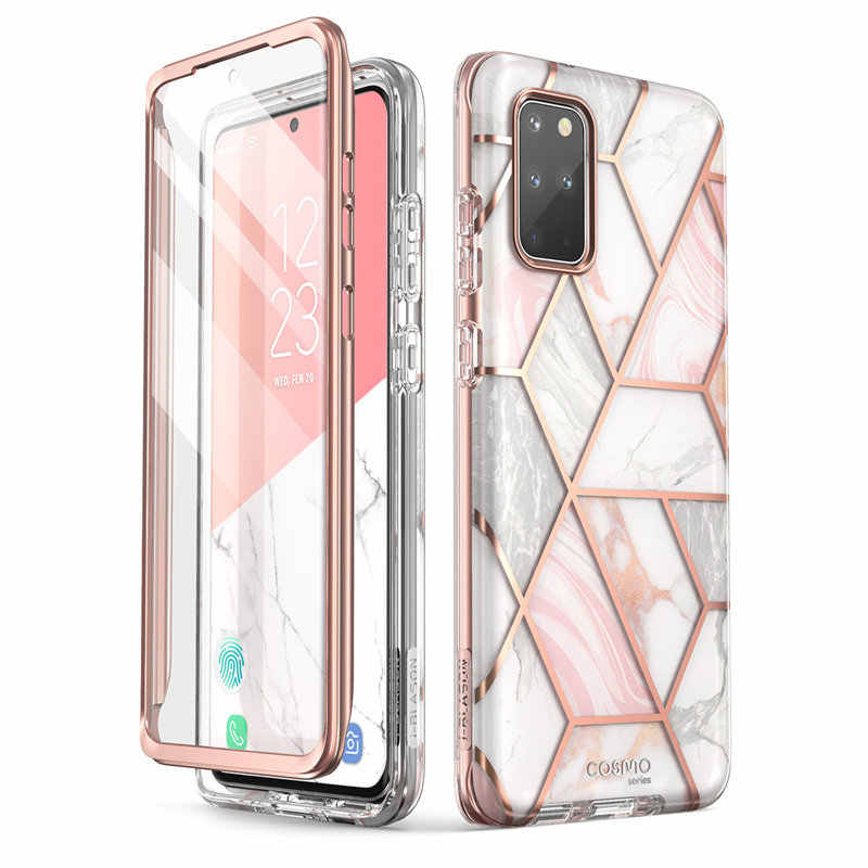 WITH Built-in Screen Protector For Samsung Galaxy S20 Plus 5G Case i-Blason Cosmo Full-Body Glitter Marble Bumper Cover Case
