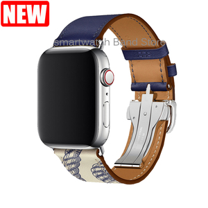 Image 3 - For Apple Watch Band Genuine Leather Single Tour Deployment Buckle for Apple Watch 5 4 3 2 1 Leather Strap for iWatch 44mm 40mm