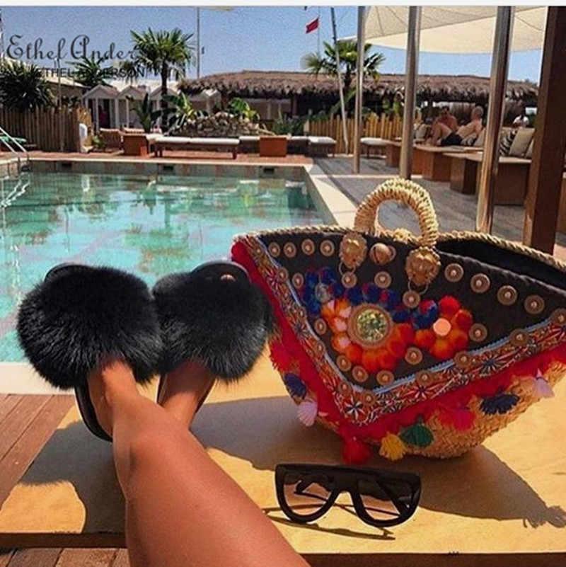 ETHEL ANERSON 최신 여성 캐주얼 호황 비치 샌들과 진짜 털이 여우 너구리 모피 슬리퍼 플립 플롭 플러시 신발