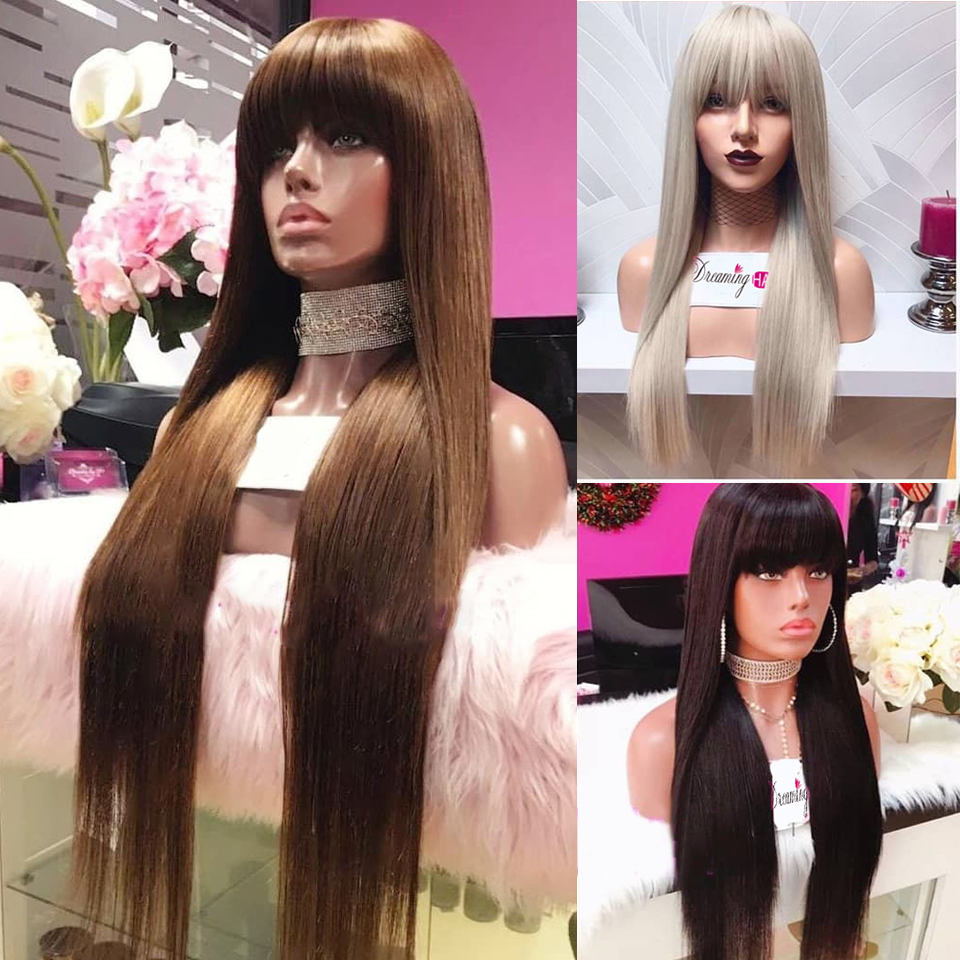 Colored Lace Front Bang Wig Human Hair Blonde Lace Front Wig With Bang Deep Part Straight 13X6 Lace Front Wig Remy Pre Plucked