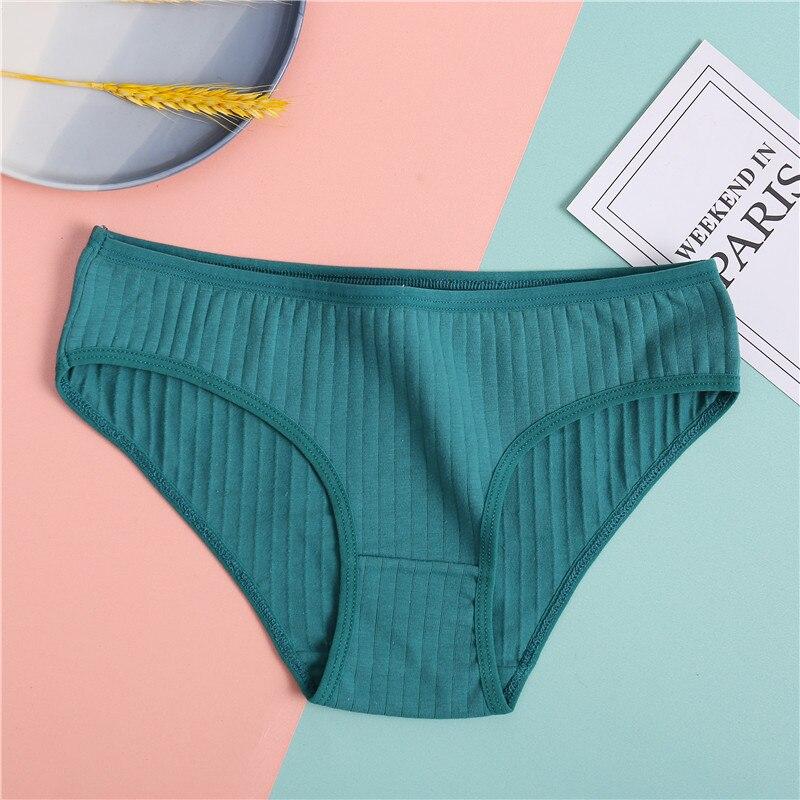 Hb78a1c8beef7412c8fd9b2f437af9c597 Ropa interior de algodón suave para mujer, calzoncillos de colores sólidos a rayas, lencería Sexy para mujer, M-XL íntima