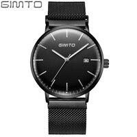 Gimto negócios quartz men assista marca superior ultra fino relógio de aço luxo masculino à prova dwaterproof água esportes relógios pulso relogio masculino