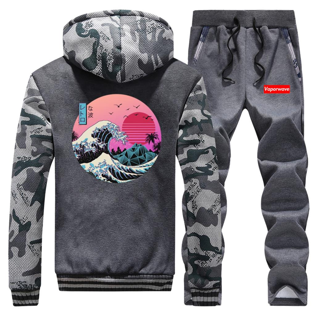 Vaporwave Male Zip Hoodie+Sports Trouser Anime Dragon Ball Mens Clothing Set Winter Thick Brand Two Piece Suit Warm Jacket Pants