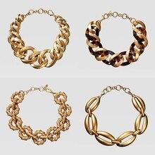 Dvacaman ZA черепаховая Смола массивное ожерелье геометрический золотистый металлическая цепочка женское колье, чокер Bijoux Double Eleven