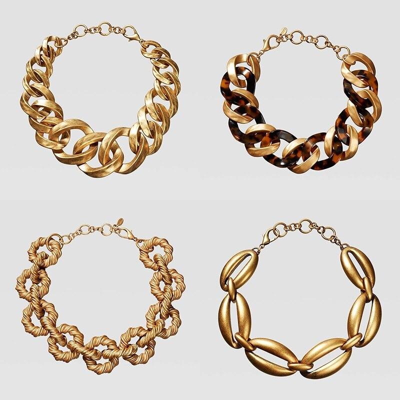 Dvacaman ZA tortue résine déclaration collier géométrique couleur or métal chaîne collier ras du cou femme Bijoux 2019 Double onze