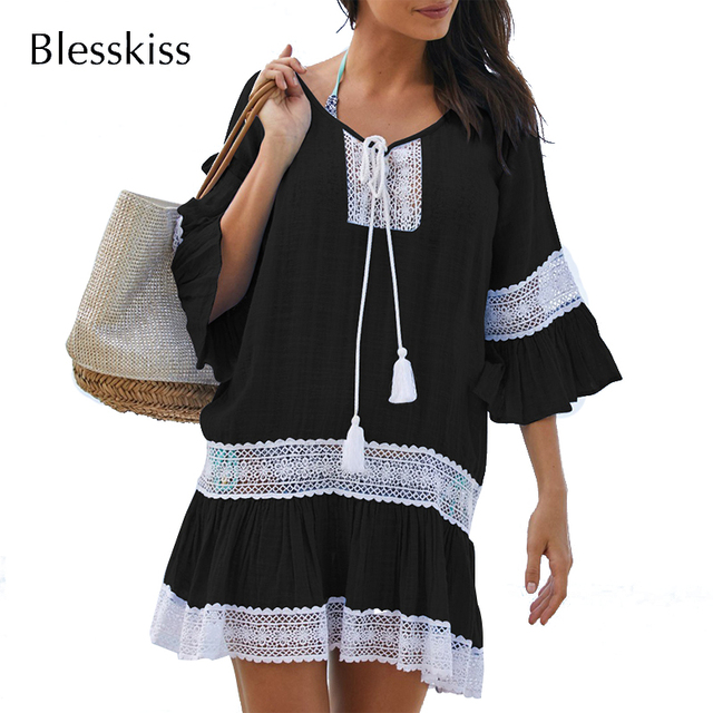 BlessKiss Summer Lace Beach Dress Cover-Up 1
