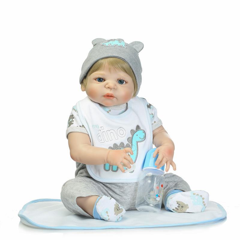 57cm Fashion Full Silicone Body Simulation Baby Boy Leopard Headdress Silicone Reborn Baby Dolls Bath Toy Doll