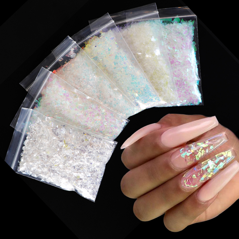 10g/bag Holographic AB  Nail Glitter Flakes Sparkly 3D Irregular Colorful Sequins Spangles Polish Manicure Nails Art Decorations