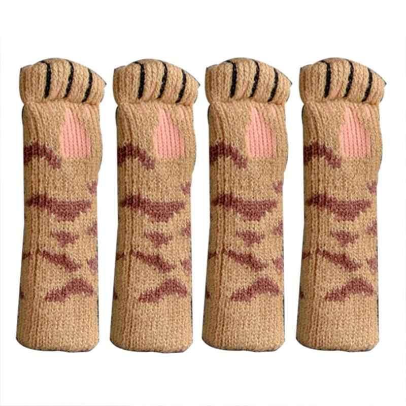 4 piezas tejer gato estilo silla pierna calcetín suelo Protector antideslizante mesa cubierta patas de mesa evitar perro mascota gato y gato rascadores