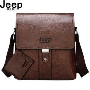 Image 1 - JEEP BULUO Men Shoulder Bag Set Big Brand Crossbody Business Messenger Bags Casual pu Leather For Man Fashion New Hot Salling