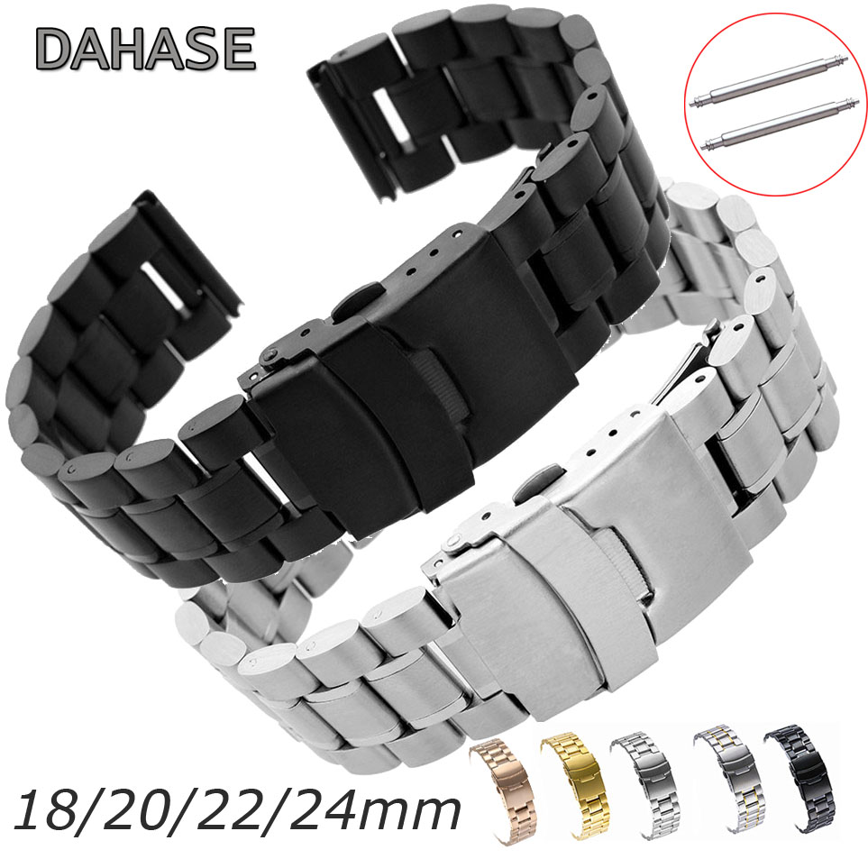 Watch Band 18mm 20mm 22mm 24mm Bracelet 5Rows Stainless Steel Band Replacement Watch Strap Double Lock Buckle Wristband