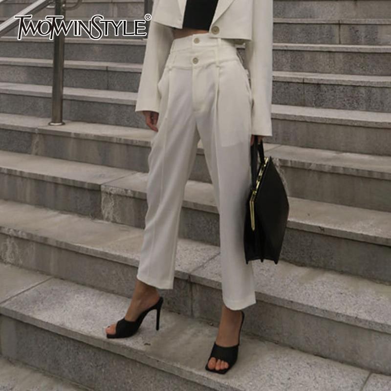 TWOTWINSTYLE Korean White Pants For Women High Waist Button Pocket Straight Pant Female Autumn Fashion New 2020 Ladies OL Style