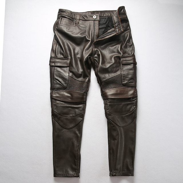 Factory 2019 New Men Vintage Gray tooling multi-pocket Cow leather motorcycle leather pants Fashion Pleated Rider Biker pants 41
