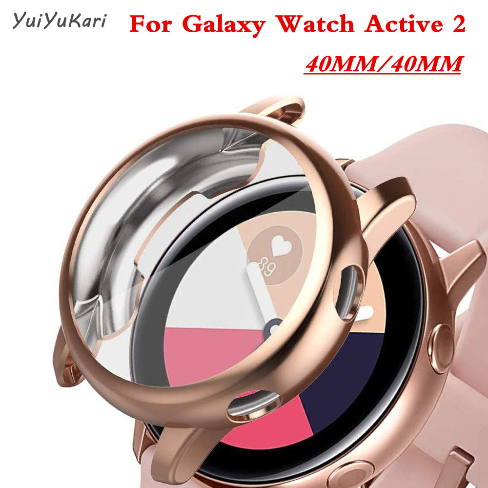 For Samsung Galaxy Watch Active 2 40mm 44mm bumper Full coverage Soft TPU Silicone Screen Protection Cover Galaxy watch case