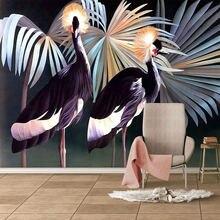 Современный Креативный тропический лес растения птицы обои 3d