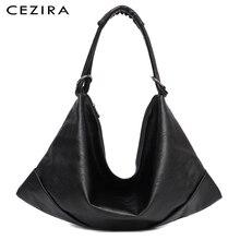 CEZIRA duży torby Hobo kobiety wegańskie torba na ramię wysokiej jakości miękkie PU skórzana Tote modne oświetlenie torebka damska torba Crossbody Sac