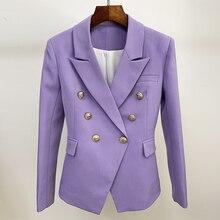Blazer clássico de leão para mulheres, novo blazer de grife para mulheres, botões de leão, estilo double breasted, slim fit, jaqueta, lavanda, alta qualidade, 2020