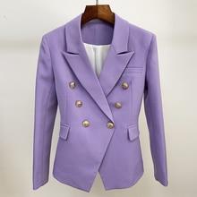 Chaqueta de diseño clásico para mujer, Chaqueta con botones de León, doble botonadura, ajustada, lavanda, novedad de 2020