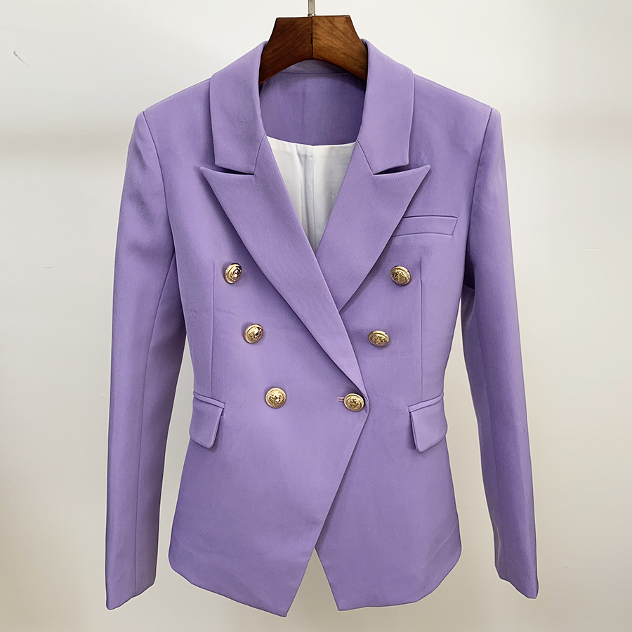 HIGH QUALITY Newest 2019 Designer Blazer Women's Classic Lion Buttons Double Breasted Slim Fit Blazer Jacket Lavender