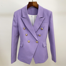 HIGH QUALITY Newest 2020 Designer Blazer Womens Classic Lion Buttons Double Breasted Slim Fit Blazer Jacket Lavender