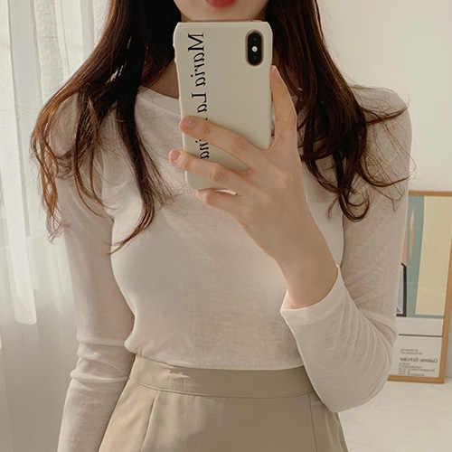 Pullover Tee Seksi Fashion Wanita Tshirt Kurus Atasan Bodycon Kapas Lengan Panjang Blus Gadis Musim Gugur T Kemeja Kuning Mujer De moda
