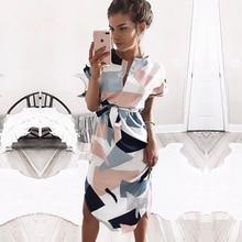 Women Summer Slit Lady Midi Party Dresses Geometric Print Causal Boho Beach Dress Loose Batwing Sleeve Vintage Vestidos