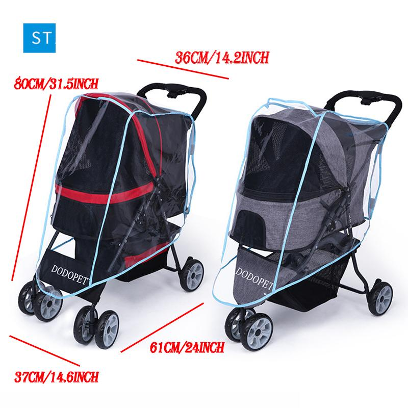 Pet Stroller Rain Cover Stroller Rain Cover Cart Rain Cover for All Kinds of Cat and Dog Carts 12