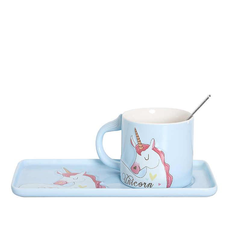 Kahve fincanı kaşıklı kupa cam bardak kupa seramik içme bardakları büyük kupa süt bardak Unicorn kupalar kahve cam kupa çay fincanları