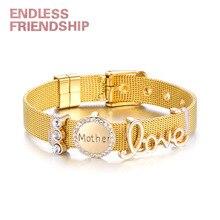 Endless Friendship DIY Stainless Fine Bracelet Steel Rhinestone Love Mother Beads Mesh For Women Metal Wristband Gift