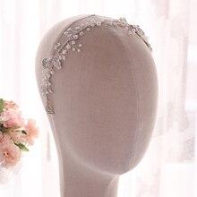 YouLaPan HP274 Очаровательная Повязка на голову из органзы с цветком и листьями из сплава свадебные головные уборы Потрясающие Свадебные украшения для волос Серебряная свадебная тиара