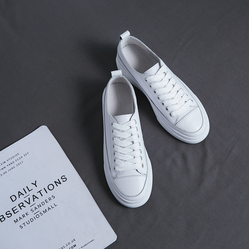 Genuine Leather Shoes 2019 Spring And Summer Cow Leather Flat Bottom Loafers White Shoes Sports Casual Shoes All Match